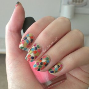 Spring Colors Mosaic Nails Over Gold Glitter