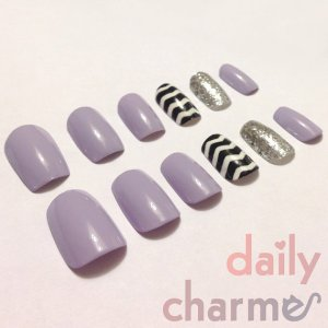 chevron false nails purple glitters