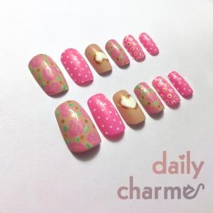 pink rose false nails polka dots heart