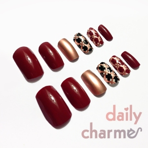 red black copper plaids fishnet false nail