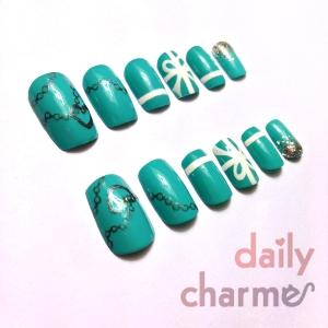 tiffany blue inspired false nail set