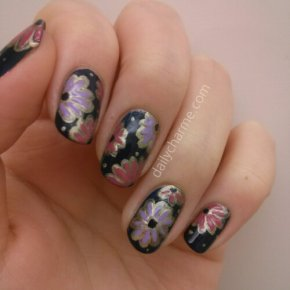 Traditional Japanese Paper Inspired Ornate Floral Nail Design