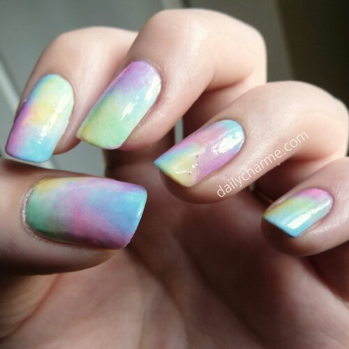 colorful cotton candy nails