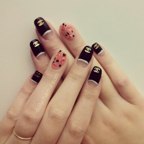 Chanel Inspired Nail Design Daily Charme