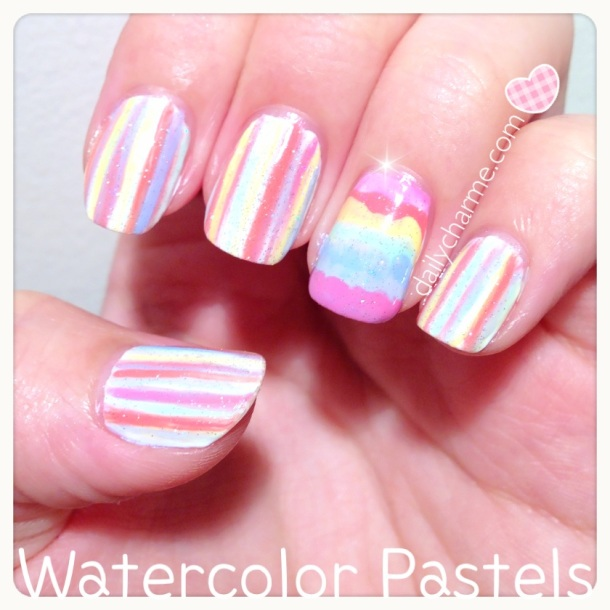 pastel rainbow watercolor nails summer spring 2013