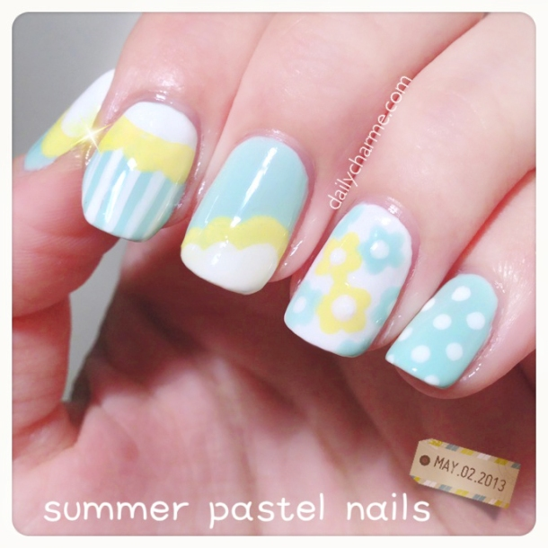 summer pastel yellow blue cloud nails