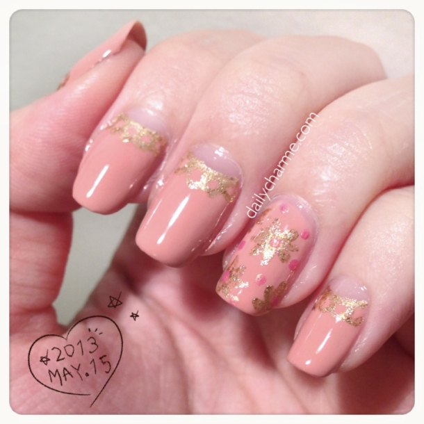 zoya piper pastel pink polish half moon nail gold flower