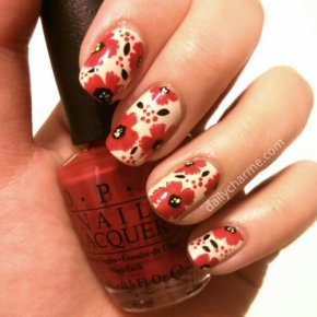 Poppy / Floral Pattern Nail Design