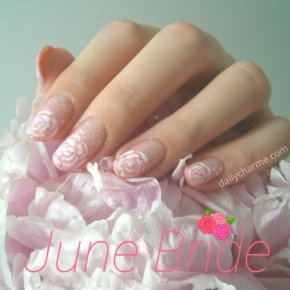 June Bride – Floral French Tips on Pink Ombre