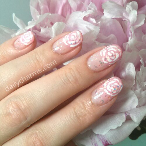 Piggieluv Freehand Stairway To Heaven Nail Art: June Bride – Floral French Tips On Pink Ombre