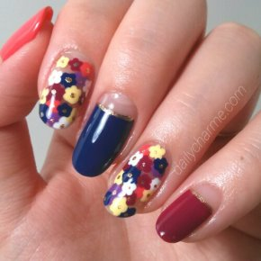 Summer Nail Design: Small Floral Clusters with Half Moons