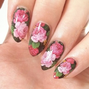 Bright Floral Nails With Water Decals
