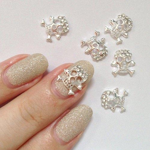 3d nail charm skull crossbone