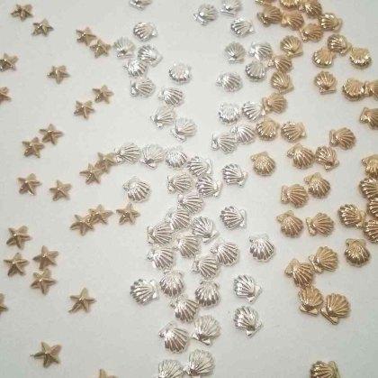 3d nail studs seashell gold silver